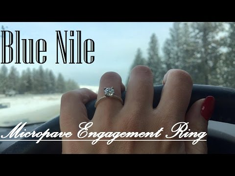 💍Blue Nile Petite Micropave Diamond Engagement Ring in Yellow Gold (1/10 ct. tw.) with Round 1.01