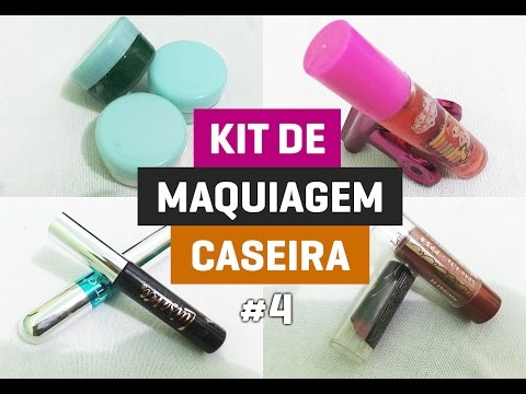 Kit de Maquiagem caseira #4  Como fazer Maquiagem em casa  Makeup simples