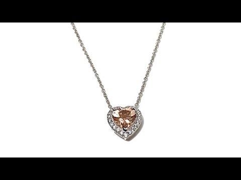 Rarities 2.62ct Morganite   Zircon Heart 16 Necklace