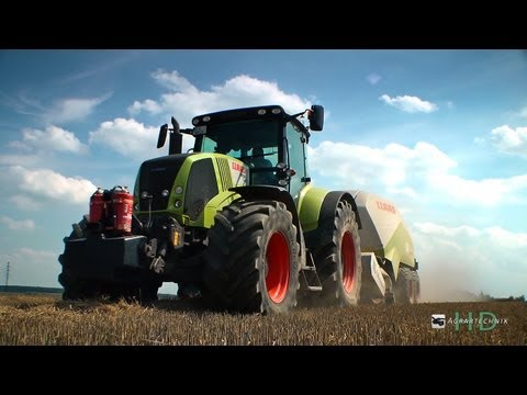 axion - Claas Axion 840 mit Claas Quadrant 3200 RC. Weiterhin seht ihr Schlepper beim verladen und transportieren der Ballen Aufnahmeort: Bei Chemnitz Kamera: Panaso...