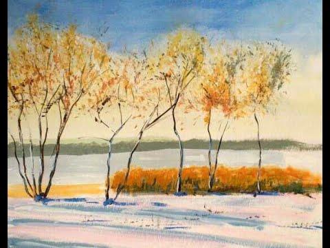 Malen mit Acryl: Winterlandschaft (Teil 1/2)