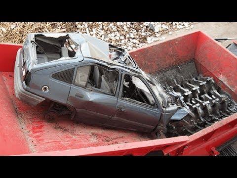 Extreme Dangerous Car Crusher Machine in Action, Crush Everything & Car Shredder Modern Technology
