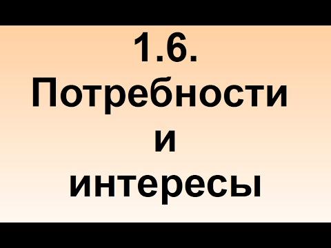 1.6. Потребности и интересы (видео)
