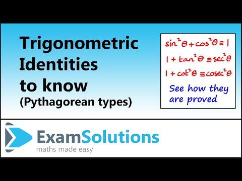Trigonometrie - Pythagoras Identities: ExamSolutions