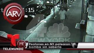 Peatones en Nueva York patearon bomba sin saberlo