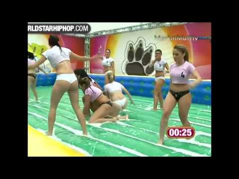 Bikini Babes in Brazil Playing Soapy Soccer