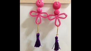 quilling earrings pinky with tassel