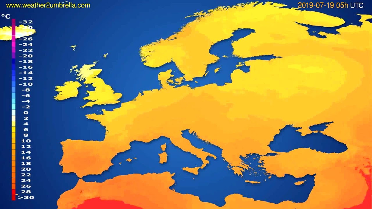 Temperature forecast Europe // modelrun: 00h UTC 2019-07-17