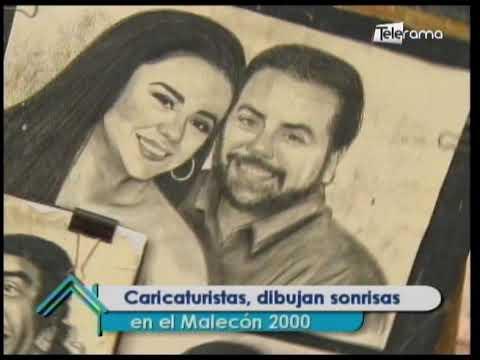 Caricaturistas, dibujan sonrisas en el Malecón 2000