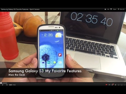 samsung galaxy S3 - In this video I show you guys my favorites features so far of the New Samsung Galaxy S3 android phone from Sprint. Check my video for the case: http://youtu....