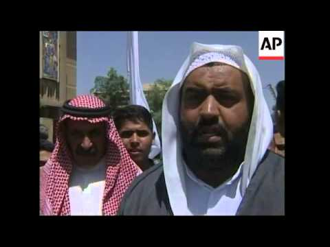 Supporters of Chalabi protest outside CPA hq