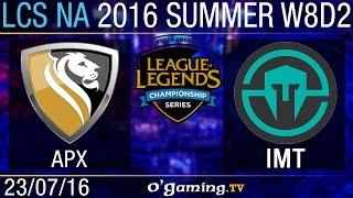 Apex vs Immortals - LCS NA Summer Split 2016 - W8D2