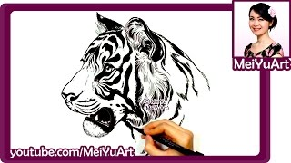Art Challenge - Realistic Tiger Drawing - Drawing Popular Animals by Mei Yu Timelapse - MeiYuArt