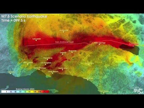Southern California Earthquake Simulation 2016 - 7.8m