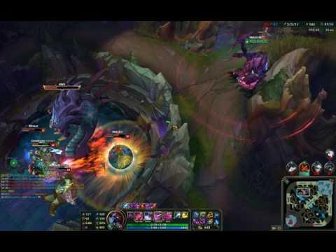 League of Legends  blind Baron steal w/ Cho'Gath Q