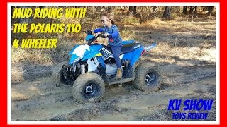 9. 4 Year Old Kid Kruz Mud Riding With The Polaris Outlaw 110 Four Wheeler STUCK IN THE MUD!!
