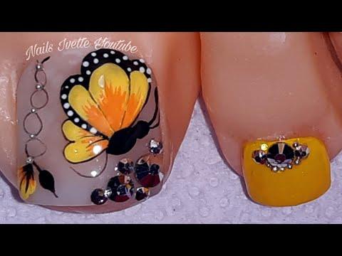 Diseño de uñas elegantes/decoración de uñas PIE MARIPOSA/Uñas decoradas para pie en tono amarillo