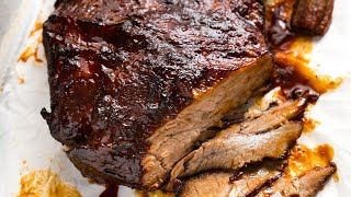 This is the stuff food dreams are made of! Tender juicy slow cooked beef brisket smothered in a homemade BBQ sauce.  http://www.recipetineats.com/slow-cooker-beef-brisket-with-bbq-sauce/