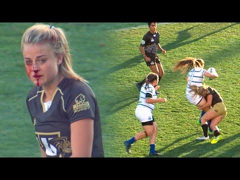 橄欖球女戰神撞歪鼻子後堅持不下場....在第38秒時她吐出.....