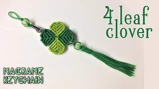 Macrame tutorial: four leaf clover key chain - Simple, easy and lucky 🍀🍀🍀