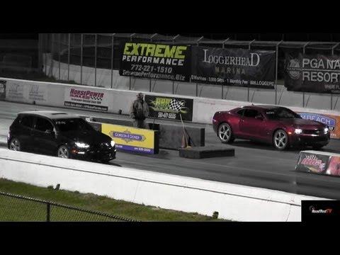 VW Golf R vs 2012 Camaro V6 323 HP – Fail/One Wheel Wonder – Drag Video – Road Rest TV