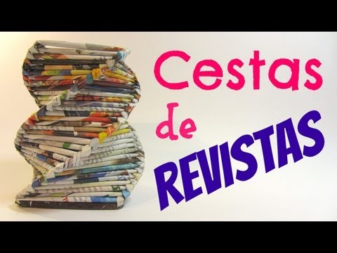Como hacer cestas con revistas. Baskets made with magazines.