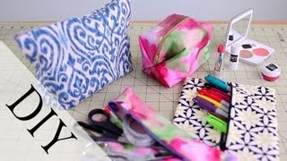 DIY Pencil Case & Makeup Bag {No Sew & Sew} by ANNEORSHINE - YouTube