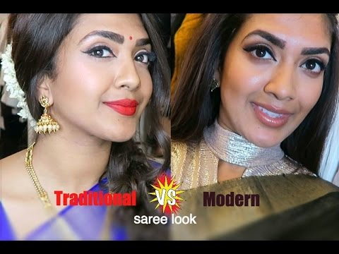 Traditional vs Modern Saree Look | Vithya Hair and Make Up Artist