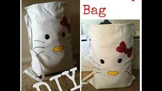 (DIY) Hello Kitty (Inspired) Laundry Bag - YouTube