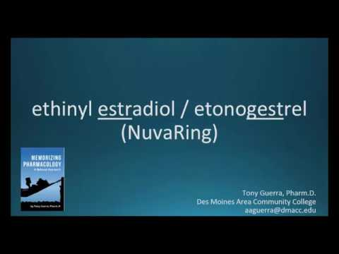How to pronounce ethinyl estradiol / etonogestrel (NuvaRing) (Memorizing Pharmacology Flashcard)