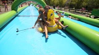 Awesome Water Slide Party In The City