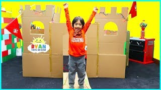 Ryan plays with Giant Castle Box Fort DIY Cardboard and more!!!