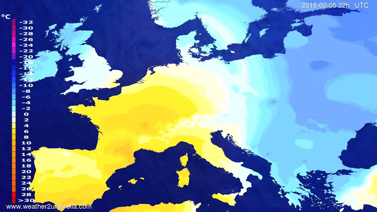 Temperature forecast Europe 2016-02-03