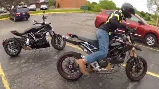 1. 2016 XDiavel S and 2009 Hypermotard 1100 S MotoVas Review Riding To Lunch Chicago Termignoni Termi
