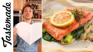 Easiest Salmon Ever (Salmon in Heart Shaped Parchment) | The Tastemakers-Frankie Celenza by Tastemade