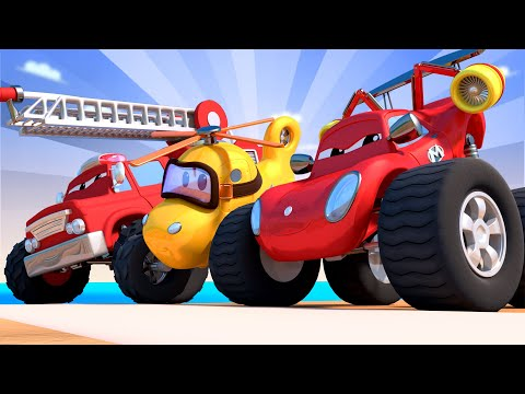 Monster Town Race with the Monster Trucks  | Monster Trucks Cartoon for Children
