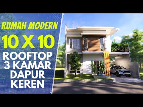 Desain dan Denah Rumah 10x10 dengan Rooftop Garden