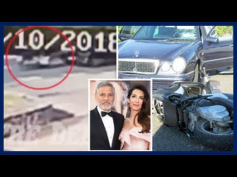George Clooney crash CCTV: WATCH moment actor is thrown into air during car accident