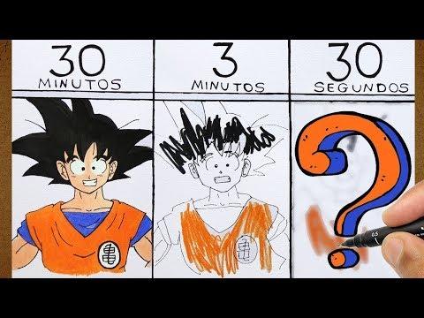 O Desafio do DESENHO RÁPIDO, Goku Dragon Ball 30 MIN. 3 MIN. 30 SEG