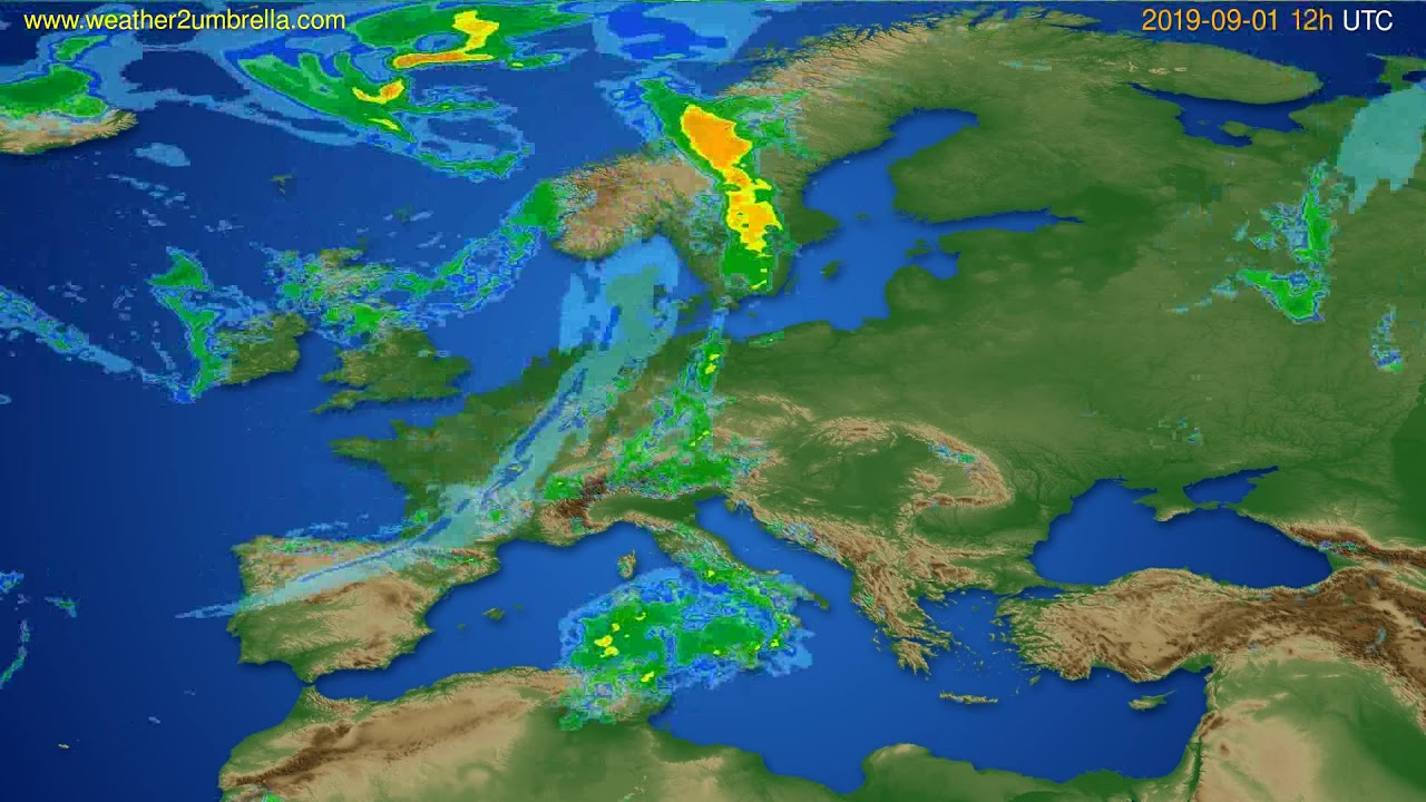 Radar forecast Europe // modelrun: 00h UTC 2019-09-01