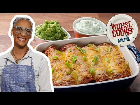 Carla Hall's Chicken Enchiladas Rojas | Worst Cooks in America | Food Network