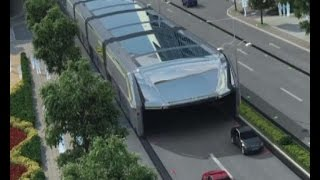 Xinhua China  City pictures : Futuristic straddling bus allows cars running underneath