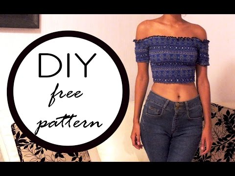 Blusa con hombro descubierto || off the shoulder top (FREE PATTERN) (CC) (видео)