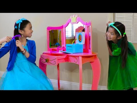 Emma & Wendy Pretend Play With Cute Pink Princess Makeup Vanity Play Table Girls Toy
