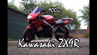 Kawasaki ZX9R Ninja. Обзор и запуск.  Review and testride.
