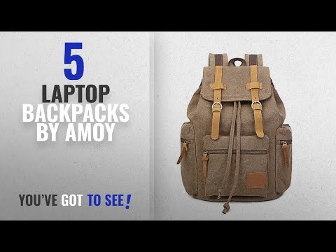 Top 10 Amoy Laptop Backpacks [2018]: Amoy Laptop Canvas Backpack Unisex Vintage Leather Casual