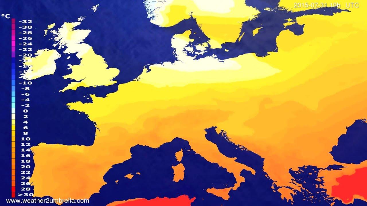Temperature forecast Europe 2015-07-28