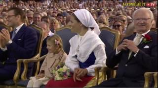 Princess Estelle's reaction after a video of Crown Princess Victoria's childhood was shown at the Victoriadagen concert.No copyright intended.
