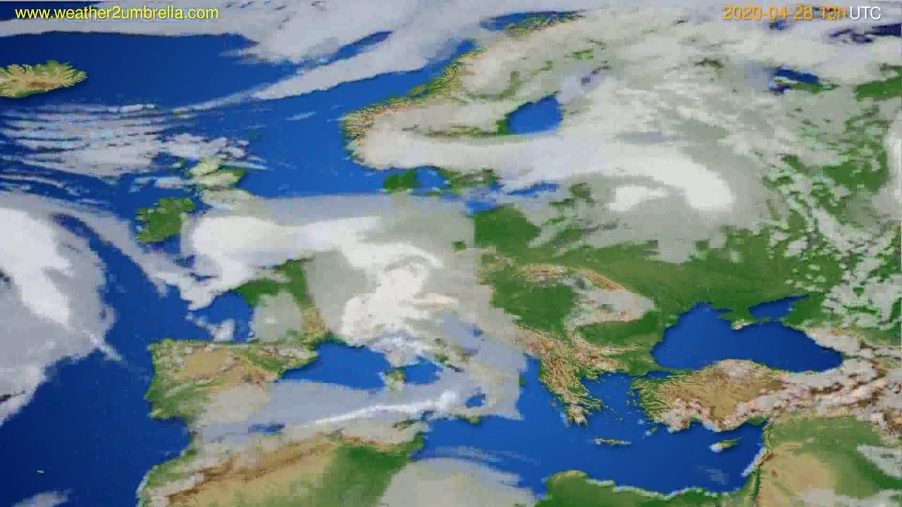 Cloud forecast Europe // modelrun: 00h UTC 2020-04-28