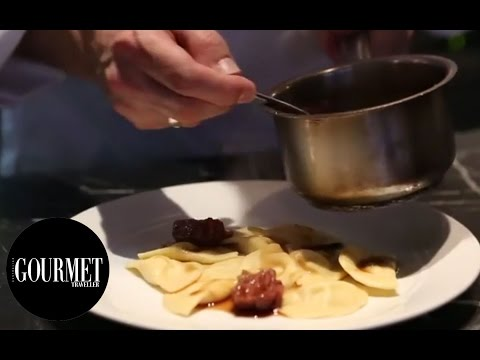 Pork belly ravioli with pork belly, pork cheek and pork sauce | Gourmet Traveller